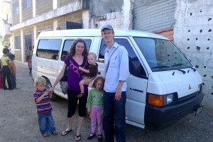 with our new van outside of La Primavera